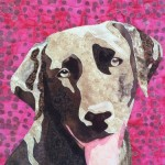 Chocolate brown lab dog quilted portrait